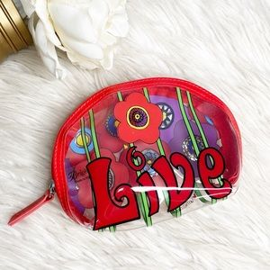 Brighton Red LIVE Floral Clear Cosmetic Bag